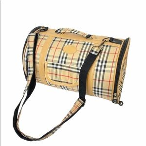Plaid Small Doggie Carrier Tan Plaid with Strap